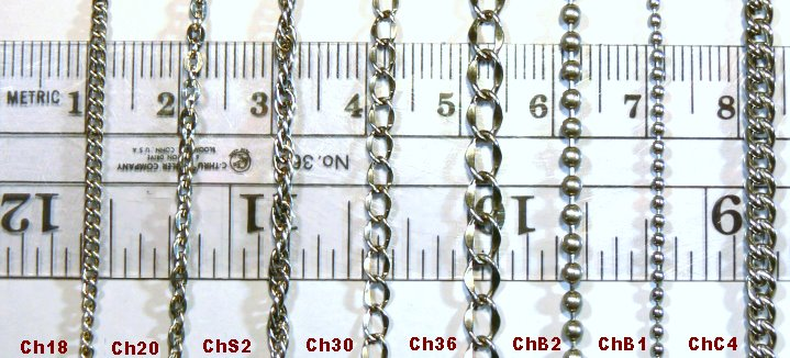 Titanium Chains Size Comparison