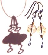 Rutilated Quartz and titanium earrings