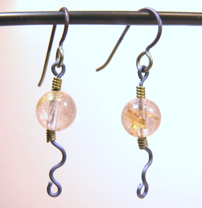 Simple Rutilated Quartz Beads on Titanium Earrings