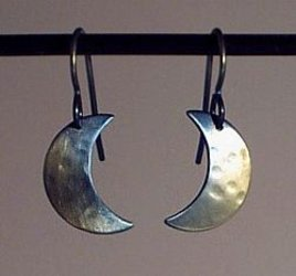 Small Titanium Crescent Moon Earrings