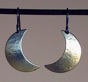Medium Titanium Crescent Moon Earrings