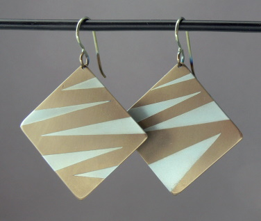 Bronze and Gold Tiger Square Dangles