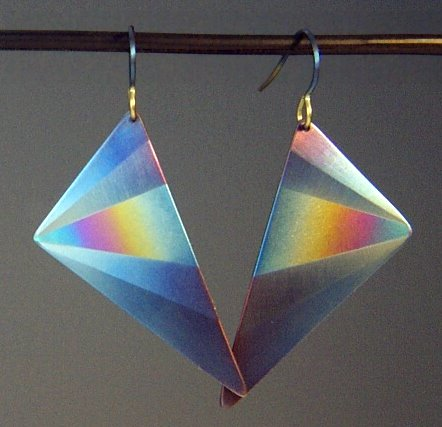 Triangular Earrings w/Fan and Rainbow.